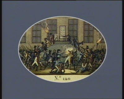 N.o 120 9 thermidor (27 juillet). Robespierre attaqué dans la Maison Commune de Paris... : [estampe]