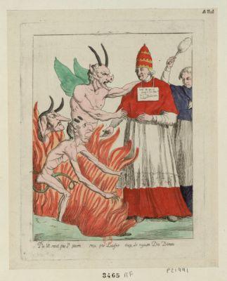 Pie <em>VI</em> renié par St Pierre reçu par Lucifer dans le royaume des démons [estampe]