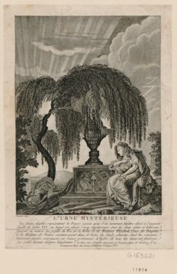 L' urne mystérieuse une femme désolée représentant la <em>France</em> assise près d'un monument funèbre élevé à l'auguste famille de Louis XVI, sur lequel est placé [sic] l'urne mystérieuse dont les deux côtés et le dessus... : [estampe]