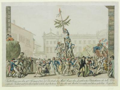 """Vorstellung wie den 11ten Hornung 1793 der Vortrab der Mosel Armée den Zwey""""brücker Unterthanen die Tolk Französische Freiheit [estampe]"""