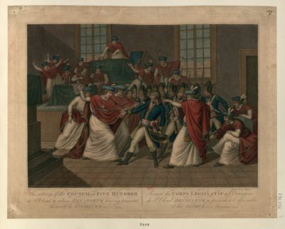 The  Sitting of the Council of Five Hundred, at St. Cloud to whom Bonaparte having presented himself he dissolved Nov.r 10th 1700 [estampe]