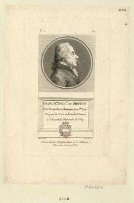 Ch. Fr. M.rie Jos. c.te de Dortan né à Avranville en Champagne le 10 8.bre 1741 député de Dole en Franche Comté à l'Assemblée nationale de 1789 : [estampe]