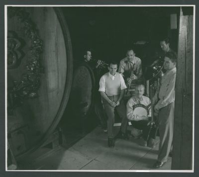 Photograph of the Turk Murphy Jazz Band with Charles 'Duff' Campbell, Dick Lammi, Wally Rose, Bob Short, Bob Helm and Turk Murphy