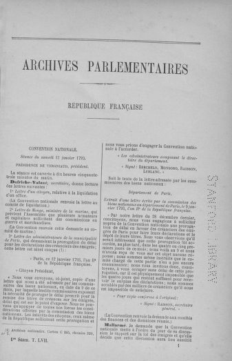 Tome 57 : Du 12 au 28 janvier 1793 - page ..