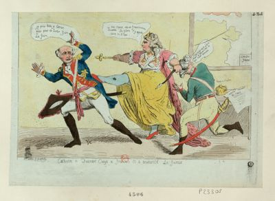 Catherine II donnant conge a François et a <em>Brunswick</em> le foireux [estampe]