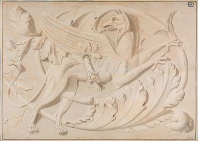 Foro Traiano, decorazioni di un fregio con grifone tra girali di acanto