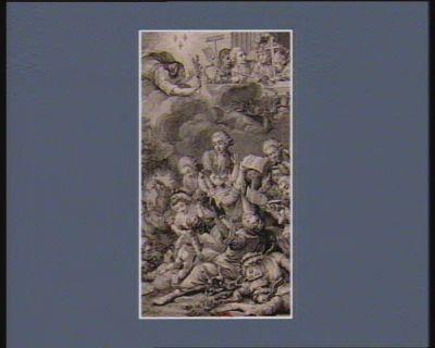 Explication au sommet de l'estampe, trois fleurs de lis éclairent l'Assemblée des Etats généraux représentés par un ecclésiastique, un guerrier, un négociant et un agriculteur. La Paix descendue du ciel, leurs présentent le rameau d'olivier, tandis que la Discorde, cachée dans un nuage obscur, tente de glisser ses serpens dans le balcon des etats : [estampe]