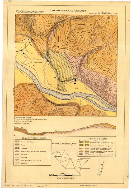 Topography and geology, Hilby area, Monterey quadrangle, Cal