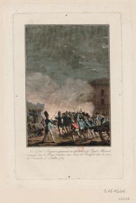 Les  Gardes Françaises repoussent un détachement de Royal Allemand commandé par le Prince Lambesc rue Basse du Rempart dans la nuit du dimanche 12 juillet 1789 [estampe]
