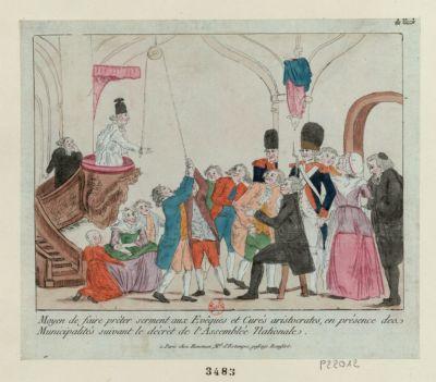Moyen de faire prêter serment aux evêques et curés aristocrates, en présence des municipalités suivant le décrèt de l'Assemblée nationale [estampe]
