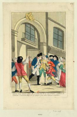 Journée du 13 avril <em>l'abbé</em> M... sortant du n.o 21 rue Ste Anne, en habit de grenadier il avoit été obligé de s'y refugier pour éviter la fureur populaire [estampe]