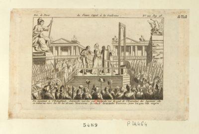 La  Veuve Capet à la guillotine en montant à l'échaffaud, Antoinette marcha par mégarde sur le pied de l'exécuteur des jugemens ; elle se retourna vers lui en lui disant, Monsieur, je vous demande excuse, je ne l'ai pas fait exprès : [estampe]