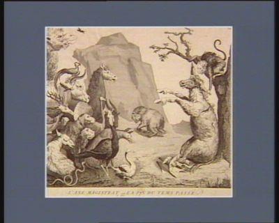 <em>L</em>' Ane magistrat ou la fin du tems passé, allégorie innocente tres ennuié de ce funeste jeu, notre singe allongeant sa patte droite un peu, vous lui pince, en riant, une de ses oreilles, Maître Martin, dit-il... Dieu vous a fait pour manger des chardons et non pour la magistrature : [estampe]