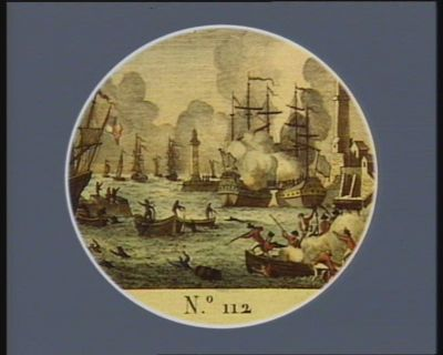 N.o 112 13 vendiem.re an 2 (5 8.bre <em>1793</em>). Massacre de l'equipage de la Modeste, dans le port de Genes,... : [estampe]
