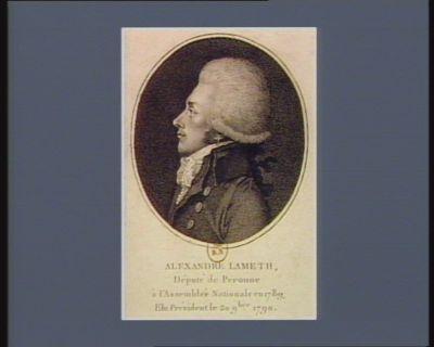 Alexandre Lameth, député de Peronne à l'Assemblée nationale en 1789, élu president le 20 9.bre <em>1790</em> [estampe]