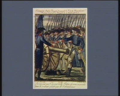 Rampon chef de brigade command.t le fort de Montelezimo nommé général de brigade le 25 avril <em>1796</em> v.s jurons sur nos canons, à la patrie, de nous ensevelir sous la redoute plutôt que de l'abandonner. Le 10 avril <em>1796</em> v.s. : [estampe]
