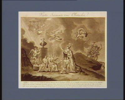 Vertu surmonte tous obstacles la France montre à ses trois enfans le nouveau ministre, dont la Renommée l'annonce de sa trompette, et lui déssile les nuages qui les couvraient à sa vüe, et sont dans l'administration, au dessus sont trois génies qui portent les portraits du Roi, de la Reine, et plus haut celui de Sully... : [estampe]