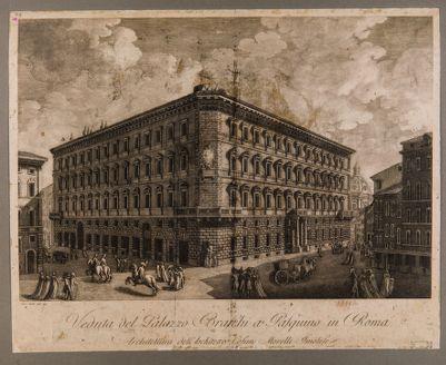 Veduta del palazzo Braschi a Pasquino in Roma
