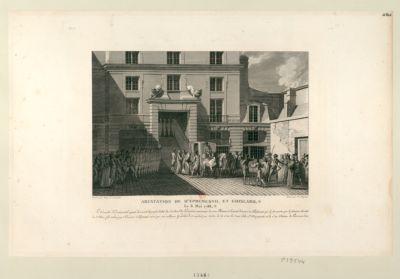 Arestation de d'Eprémesnil et Goislard le 6 mai 1788 le conseiller d'Eprémesnil ayant découvert le projet d'édit du cardinal de Loménie, concernant la Cour pléniere,... : [estampe]
