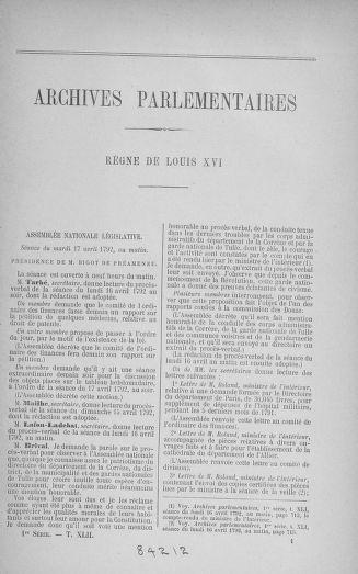 Tome 42 : Du 17 avril au 4 mai 1792 - page 1