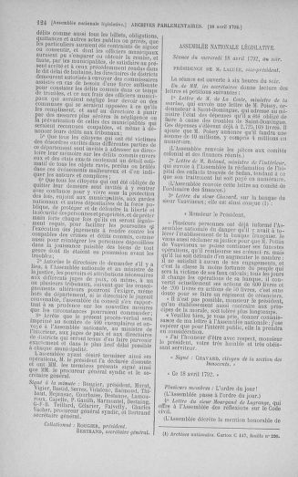 Tome 42 : Du 17 avril au 4 mai 1792 - page 124