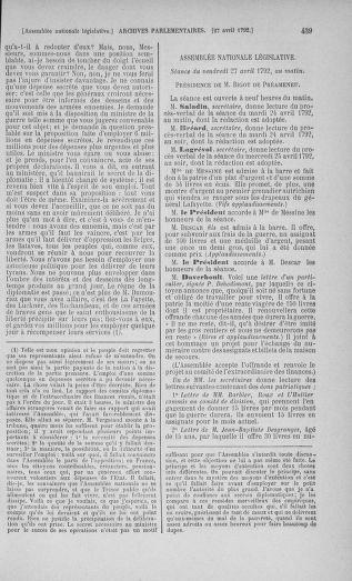 Tome 42 : Du 17 avril au 4 mai 1792 - page 439