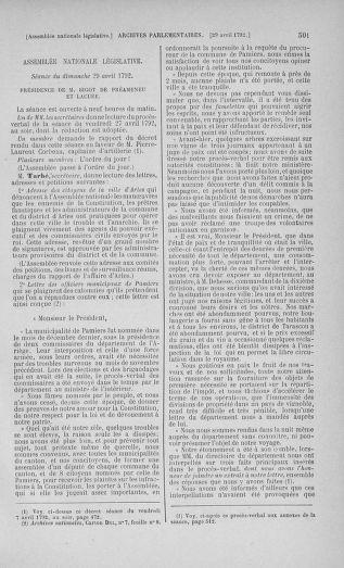 Tome 42 : Du 17 avril au 4 mai 1792 - page 501