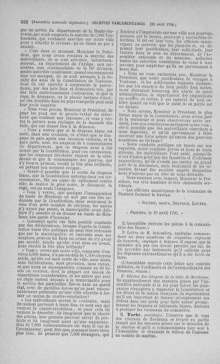 Tome 42 : Du 17 avril au 4 mai 1792 - page 502