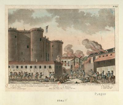Prise de la Bastille par les bourgeois et les braves Gardes françaises de la bonne ville de Paris, le 14 juillet <em>1789</em> dédiée à la nation... : [estampe]