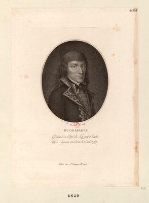 Buonaparte general en chef de l'armée d'Italie, né <em>à</em> Ajaccio en Corse le 15 août 1769 : [estampe]