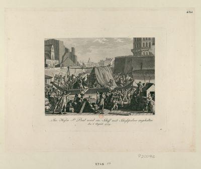 Im Hafen St Paul wird ein Schiff mit Schiesspulver angehalten den 6 August 1789 : [estampe]