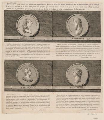 Louis XVI a su réunir aux intentions populaires de Théopompe, les vertus touchantes de Marc-Aurèle, et le courage de Charlemagne [estampe]