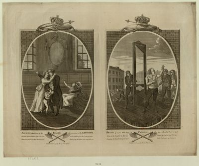 Louis XVI taking leave of his family <em>the</em> morning of his <em>execution</em> Death of Louis XVI King of France who was behead'd. Jan.y 21 <em>1793</em> : [estampe]