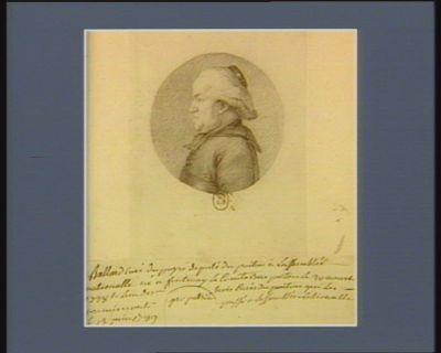Ballard curé du Poyré député du Poitou à l'Assemblée nationale : né à Fontenay le Comte sur Poitou le 30 aoust 1728 et l'un des trois curés du Poitou qui les premiers ont [passé ?] à l'Assemblée nationnale le 13 juin 1789 : [dessin]