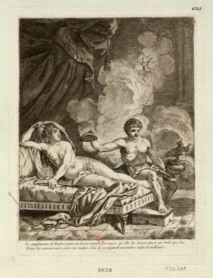 La  Complaisance de Pandore pour un de ses amans fut cause qu'elle lui laissa ouvrir une boëte que les dieux lui avoient mise entre les mains, d'où il se répandit un nombre infini de malheurs [estampe]