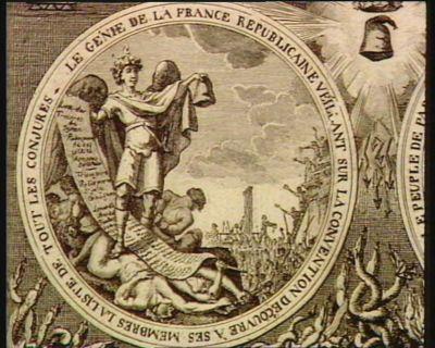 <em>Le</em>  Génie <em>de</em> <em>la</em> France républicaine veillant sur <em>la</em> Convention découvre à ses membres <em>la</em> liste <em>de</em> tout les conjures [estampe]