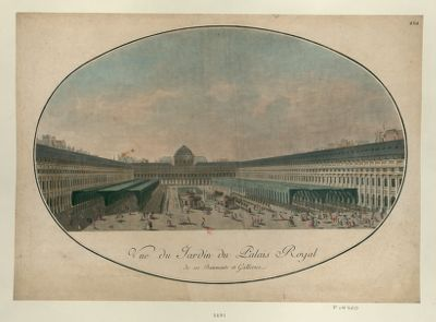 Vue du jardin du Palais Royal, de ses batiments et galleries [estampe]