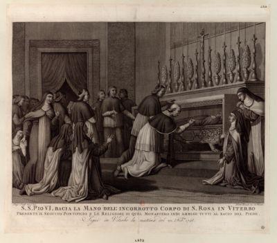 S.S. Pio VI bacia la mano dell'incorrotto corpo di S. Rosa in Viterbo presente il seguito pontifico... : [estampe]