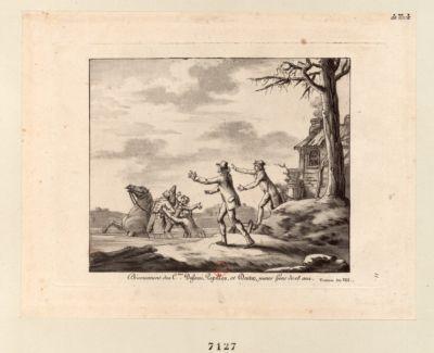 Dévouement des C.ens Dufossé, Papillon et Dartin, jeunes Gens de 18 ans Ventose An VIII [i.e. VII] : [estampe]