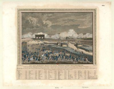 Le X IV juillet MVCCLXXXX // Fédération des français dédiée aux Gardes nationales <em>de</em> France, par Mr Ponce, capitaine dans l'armée parisienne (depuis le mois <em>de</em> juillet 1789) 1.ere division 8.eme bataillon : vingt mille députés, représentant trois millions d'hommes armés, font serment sur l'autel <em>de</em> <em>la</em> patrie (dressé <em>au</em> <em>Champ</em> <em>de</em> <em>Mars</em>) en présence du Roi, <em>de</em> l'Assemblée nationale, <em>de</em> l'armée parisienne, et <em>de</em> trois cent mille citoyens, <em>de</em> maintenir <em>la</em> nouvelle constitution... : [estampe]