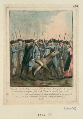 Execution de la sentence rendû par la milice-bourgeoise de Sivrai, en réparation de l'injure faite à la nation et au Roi par le c... de ..., qui avoit attaché la cocarde nationale à la queue de son chien, dont il fut condamné de baiser 3 fois le derrière [estampe]