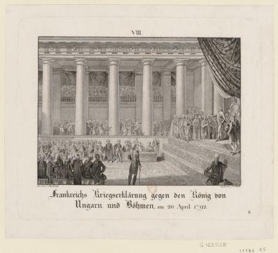 Franckreichs Kriegserklärung gegen den König von Ungarn und Böhmen, am 20 April <em>1792</em> [estampe]