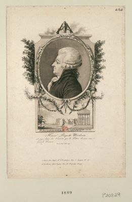 Honoré Riquetti Mirabeau, député de la sénéchaussée d'Aix à l'Assemblée nationale de 1789 elu président le 29 janvier 1791, mort le 3 avril de la meme année... : [estampe]