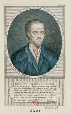 Benoit Joseph Labre français, né à St Sulpice d'Ametes en Artois, diocèse de Boulogne, le 26 mars 1748, mort à Rome, en odeur de sainteté, le 16 avril 1783... : [estampe]