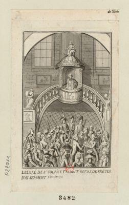 <em>Le</em>  Curé de St Sulpice faisant refus de préter son serment 9 janvier 1791 : [estampe]