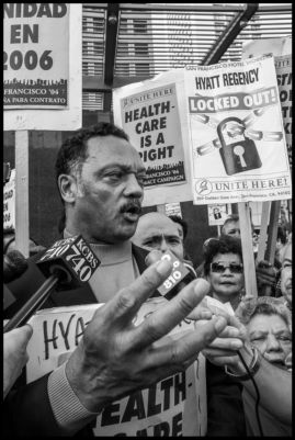Rev. Jesse Jackson rallies with locked out and striking San Francisco hotel workers in Union Square