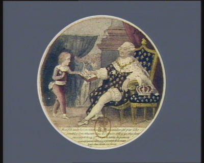Mon fils voila la Constitution des Français décrété par l'Assemblée Constituante dans les années 1789.90 et 91 dont j'ai accepté le 14 7.bre ce qu'en vertu du pouvoir executif qui mes délégué je promet de la maintenir dans toute sa force : [estampe]