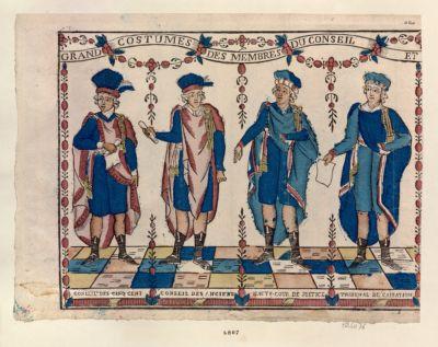 Grand costumes des membres du conseil et conseil des Cinq Cent Conseil des Anciens Haute Cour de justice tribunal de cassation : [estampe]