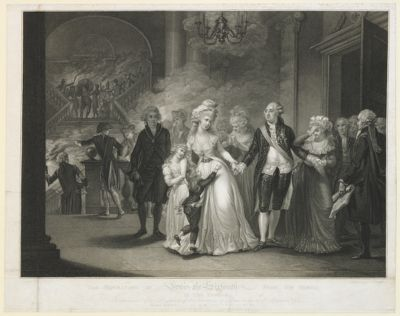 The  Separation of Lewis the Sixteenth from <em>his</em> <em>family</em> in the Temple in consequence of a resolution of the Commune of Paris on the 29th of <em>September</em> <em>1792</em> : [estampe]