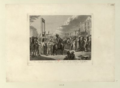 Der  Sohn des unglüklichen Königs Ludwig <em>XVI</em> bey Erblickung der Guillotine [estampe]